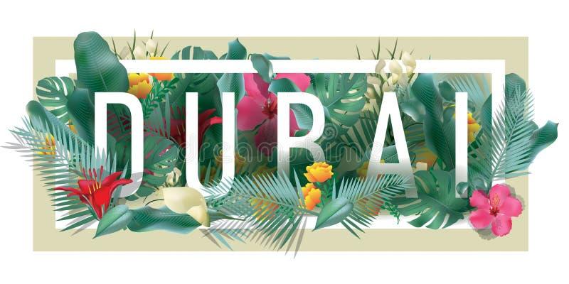 Illustration typographique encadrée florale de ville du DUBAÏ de vecteur illustration stock