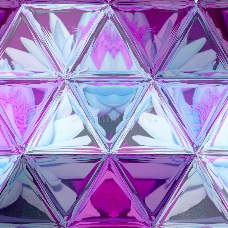 Illustration ultra-violette de composition en lis avec le fond transparent en verre souillé de triangle photographie stock