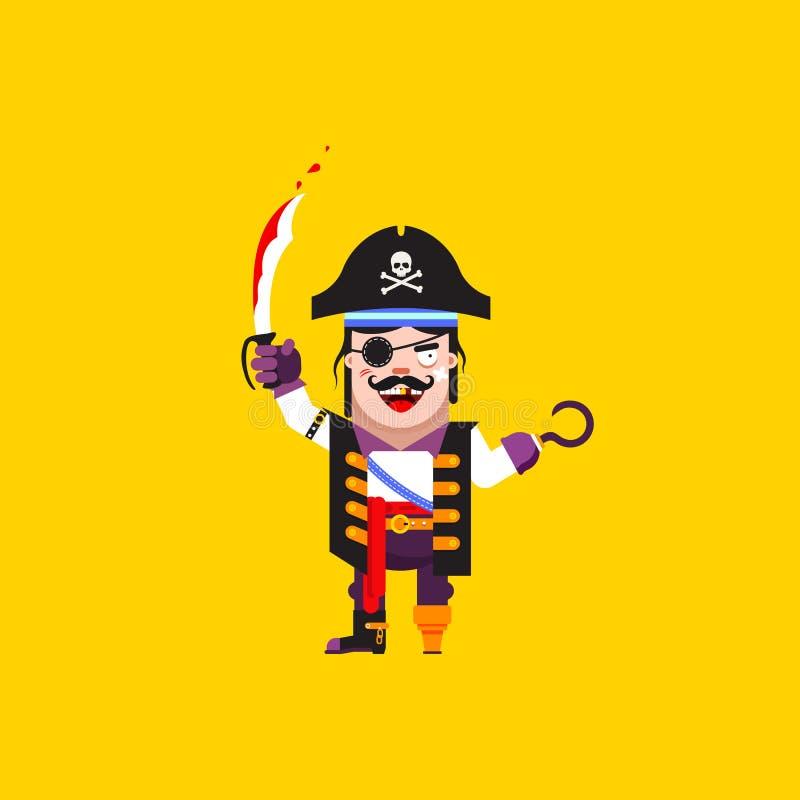 Download Illustration Un Caractère De Pirate Pour Halloween Dans Le Style Plat Illustration de Vecteur - Illustration du jumelles, couteau: 76082134