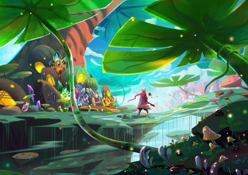 Illustration : Un petit prince et sa Rose est sur un voyage d'aventure fantastique au sujet d'identifier l'amour illustration de vecteur