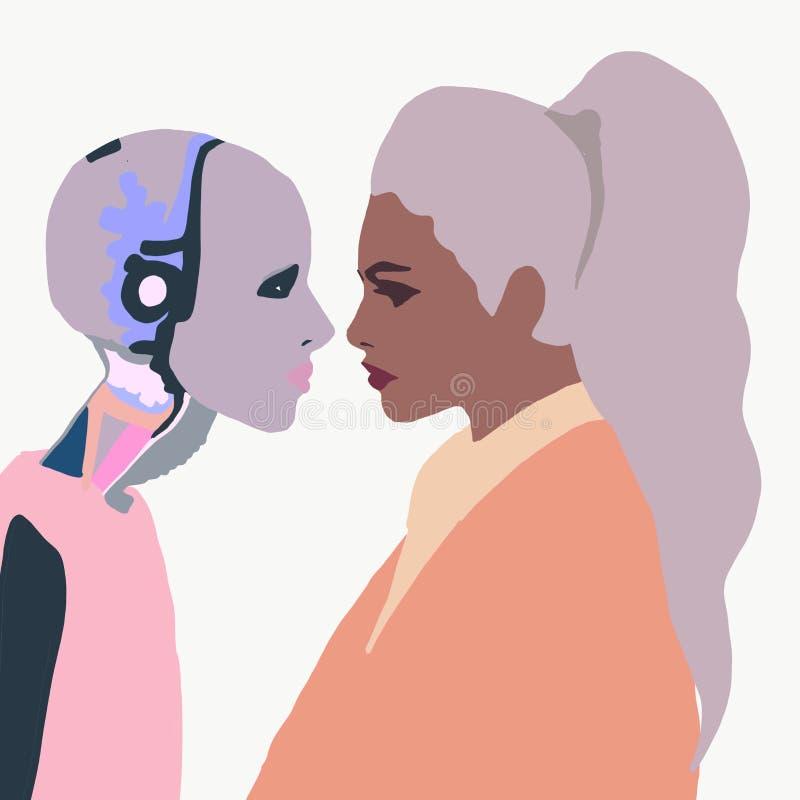 Illustration Un robot féminin avec une fille Femme qui parle avec un robot femme Interaction intelligente artificielle Humanoïaqu illustration stock
