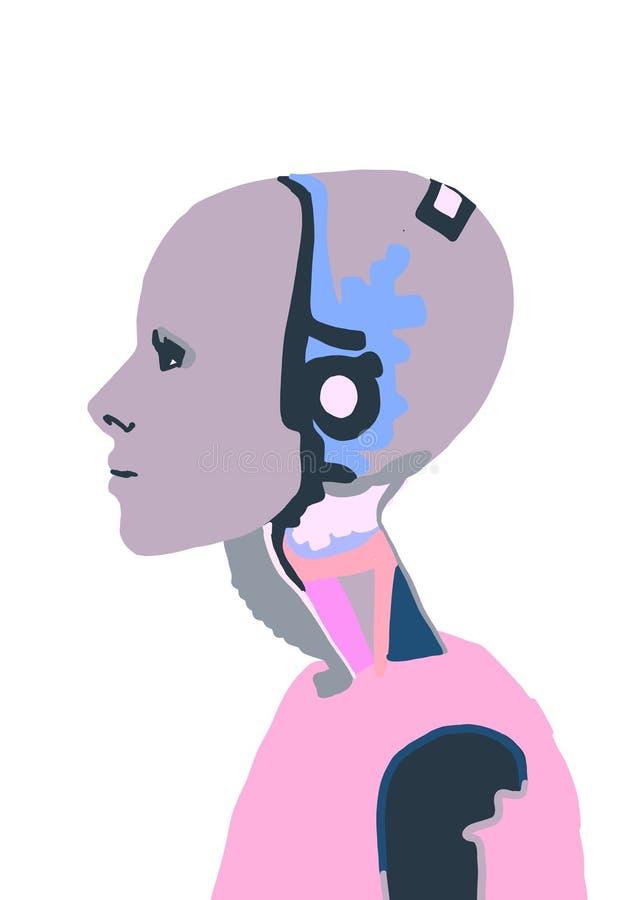 Illustration Un robot féminin avec une fille Femme qui parle avec un robot femme Interaction intelligente artificielle Humanoïaqu illustration de vecteur