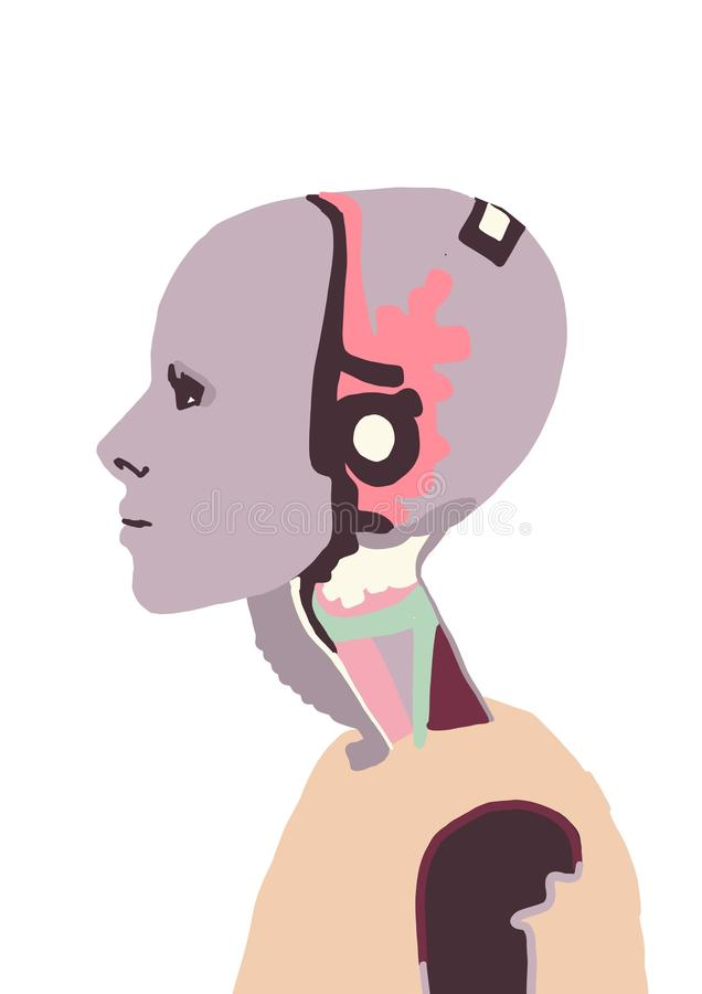Illustration Un robot féminin avec une fille Femme qui parle avec un robot femme Interaction intelligente artificielle Humanoïaqu illustration libre de droits
