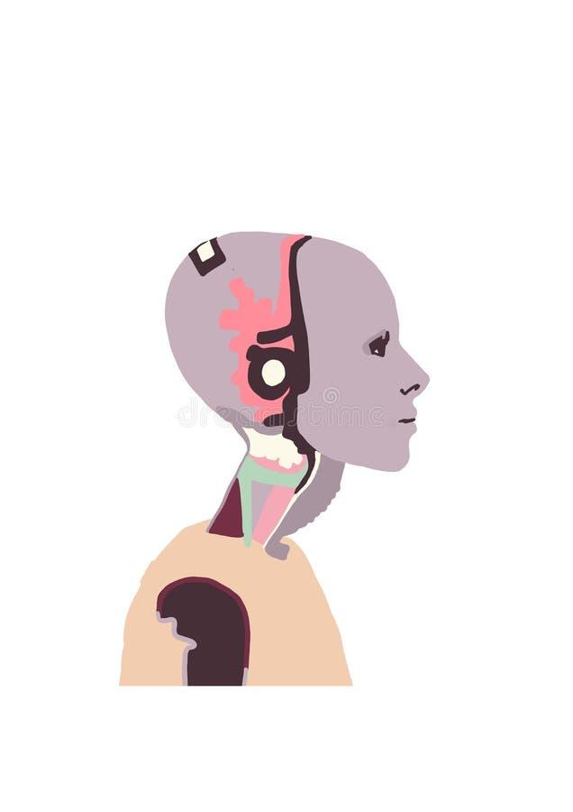 Illustration Un robot féminin avec une fille. Femme qui parle avec un robot femme. Interaction intelligente artificielle. Humanoà illustration de vecteur