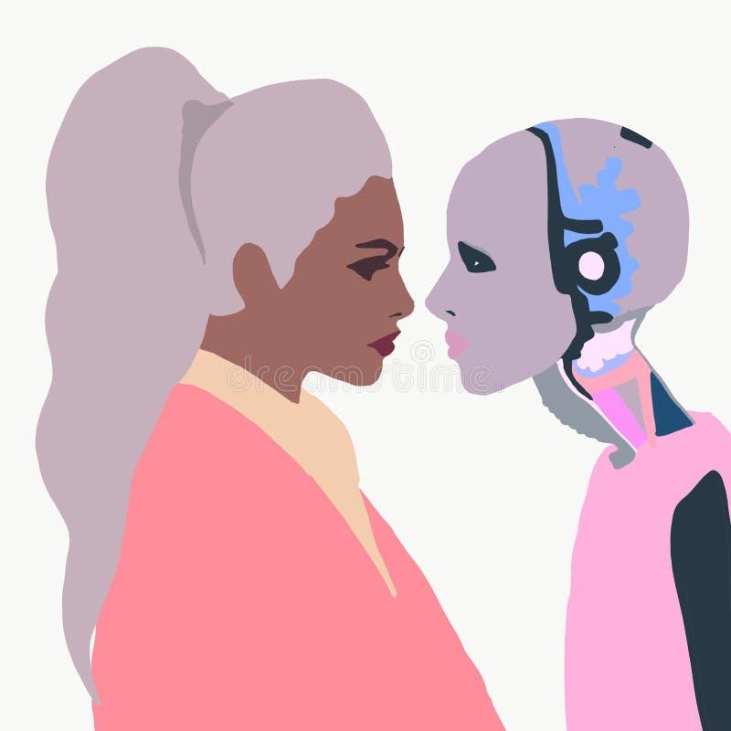Illustration Un robot féminin avec une fille. Femme qui parle avec un robot femme. Interaction intelligente artificielle. Humanoà illustration libre de droits