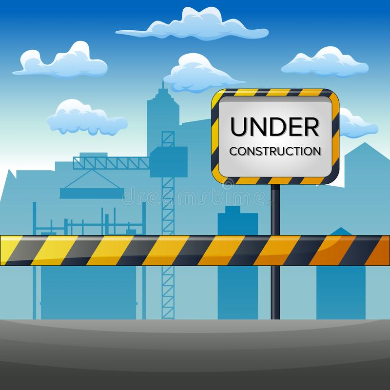 Illustration of under construction site with building vector illustration