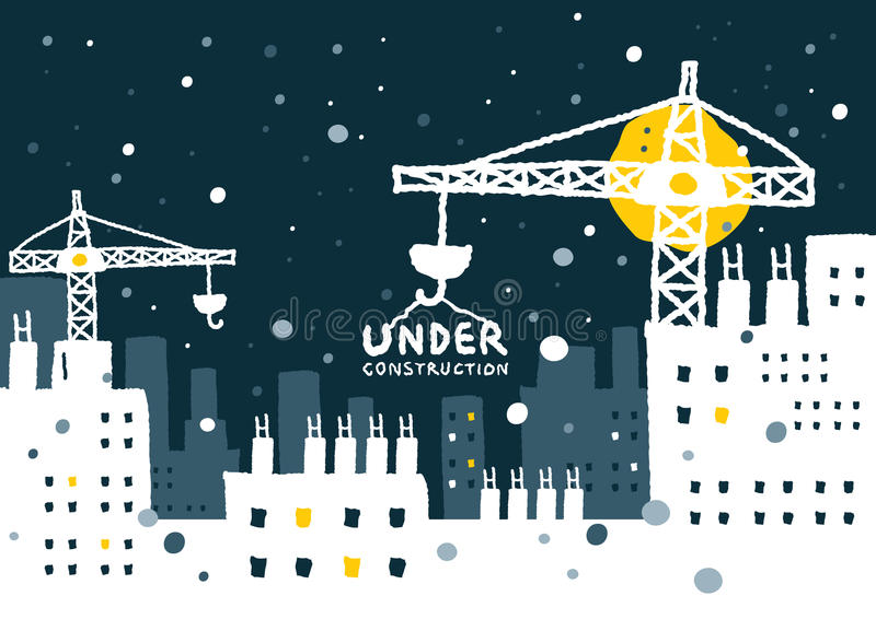 Illustration of under construction site with building. Freehand drawing vector Illustration royalty free illustration