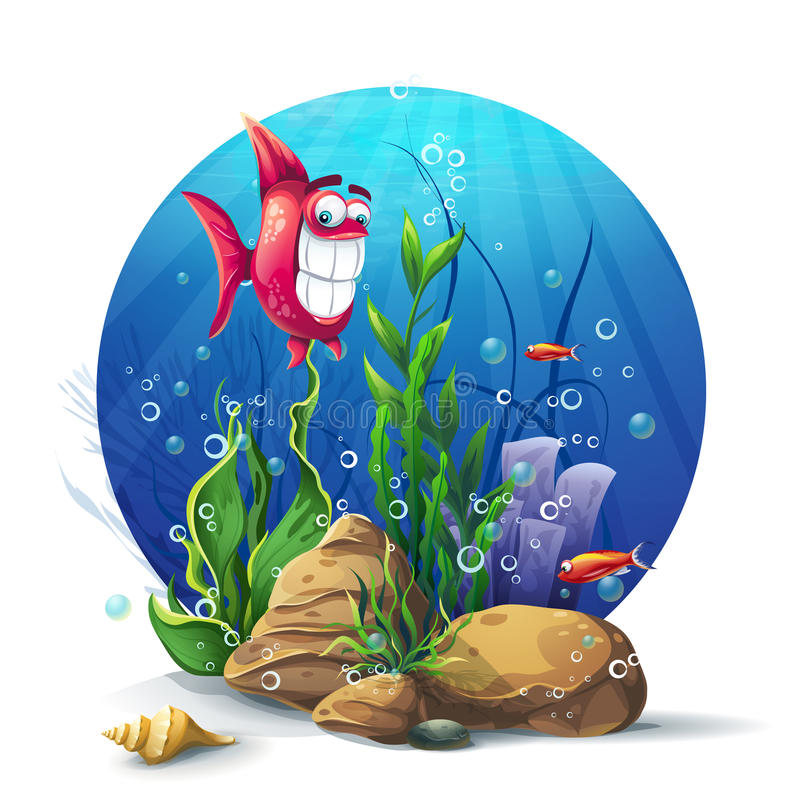 Illustration of underwater rocks with seaweed and fish fun.  vector illustration