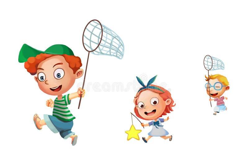 Illustration: Ungar/isolerade barn De kör, att spela som är jätteglat! royaltyfri illustrationer