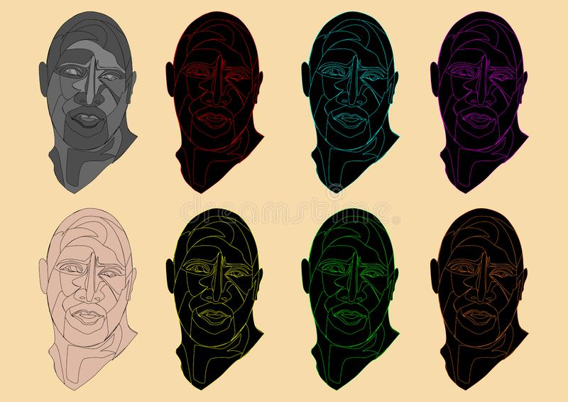 illustration of a unique colorful human head royalty free stock photo