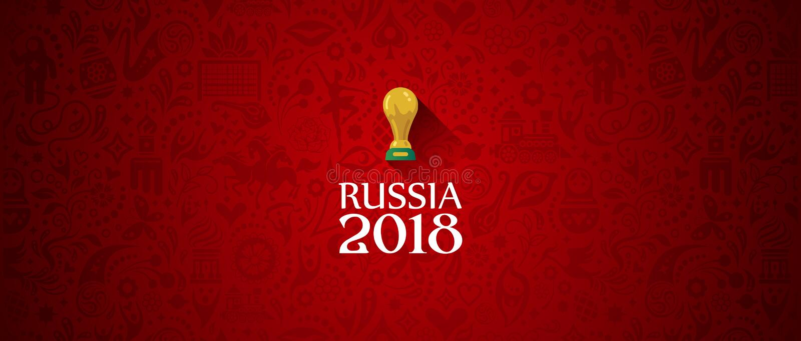 Russia 2018 World Cup banner red. Illustration of an unofficial Russia Football World Cup 2018 banner background in a red Russian themed pattern with white vector illustration