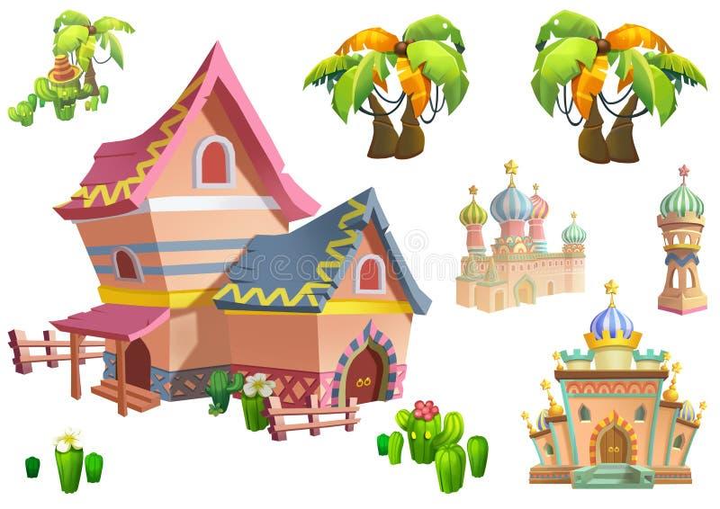 Illustration: Uppsättning 2 för design för ökentemabeståndsdelar Modiga tillgångar Huset, trädet, kaktuns, stenstatyn royaltyfri illustrationer