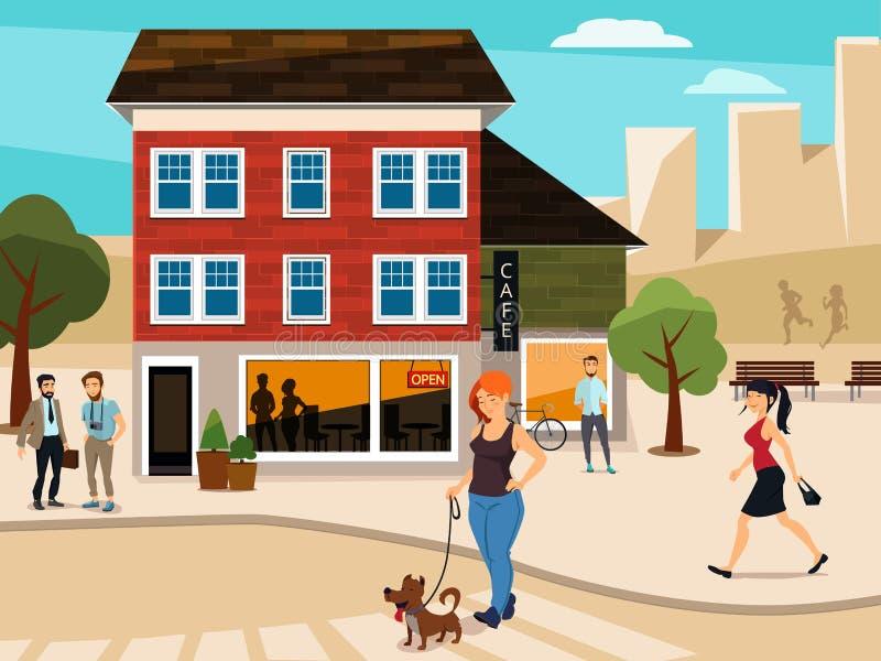 Illustration urbaine avec les personnes de marche sur la rue Route et bâtiments Illustration de vecteur illustration stock