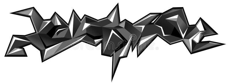 Illustration urbaine d'art de graffiti Formes abstraites noires et blanches des couleurs 3d d'isolement sur le fond blanc Impress illustration stock