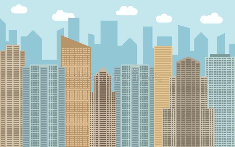Illustration urbaine de paysage de vecteur Vue de rue avec le paysage urbain, les gratte-ciel et les bâtiments modernes au jour e illustration de vecteur