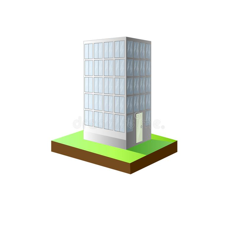 Illustration of an Urban Scene Featuring a High Rise Condominium. High-rise white building stock illustration