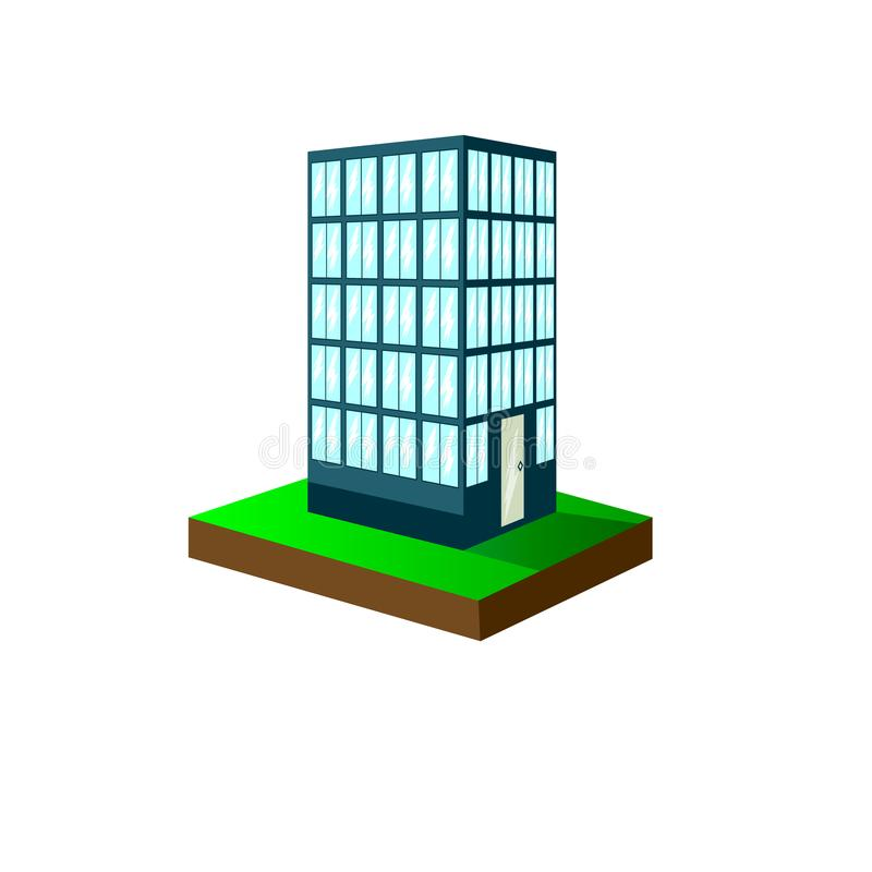 Illustration of an Urban Scene Featuring a High Rise Condominium. Multistory building royalty free illustration