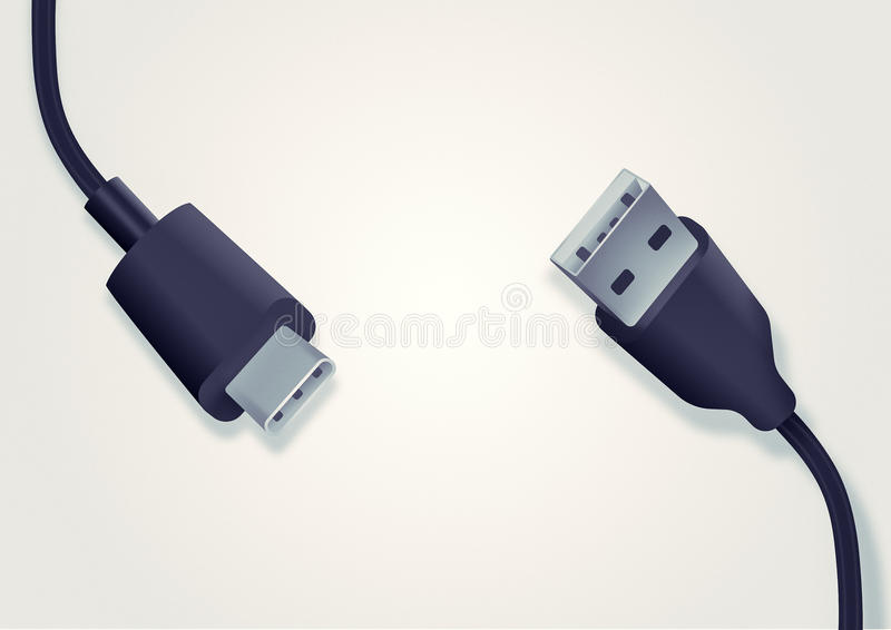Illustration of USB type-c and type-a cable. The background with the image of two cables. One replaces another stock illustration