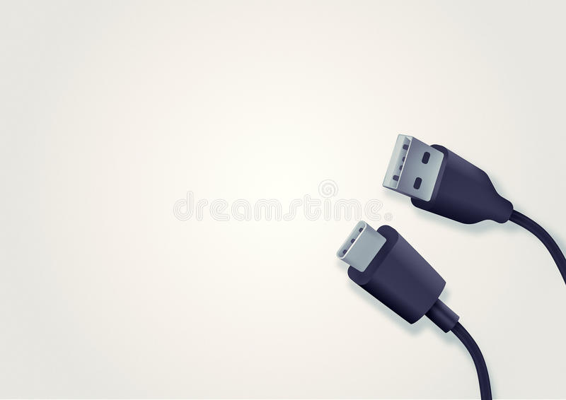 Illustration of USB type-c and type-a cable. The background with the image of two cables. One replaces another royalty free illustration