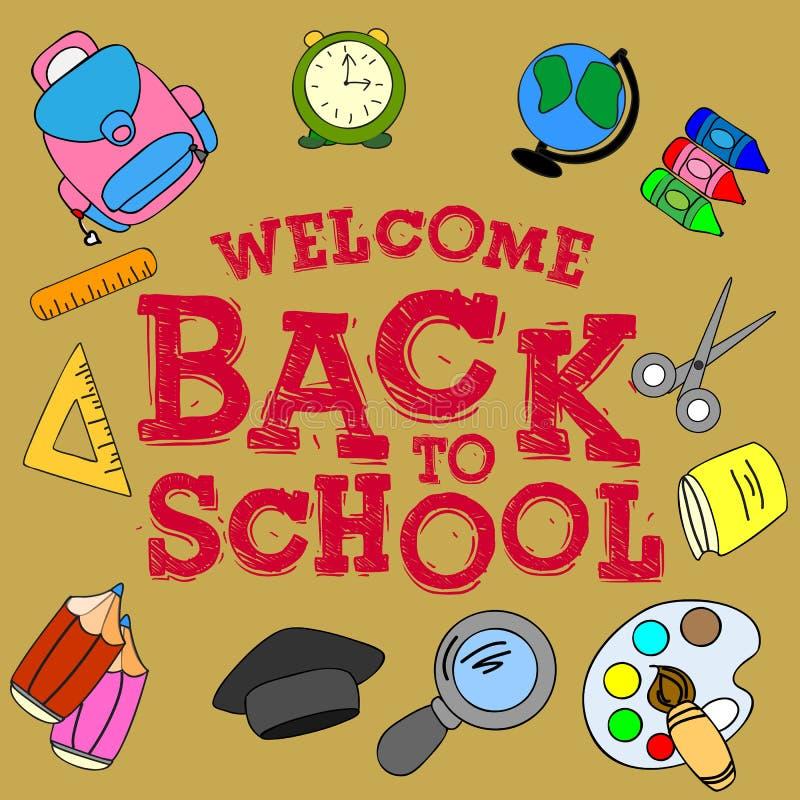 Illustration`-välkomnande tillbaka till skola`, skolauppsättning, stock illustrationer