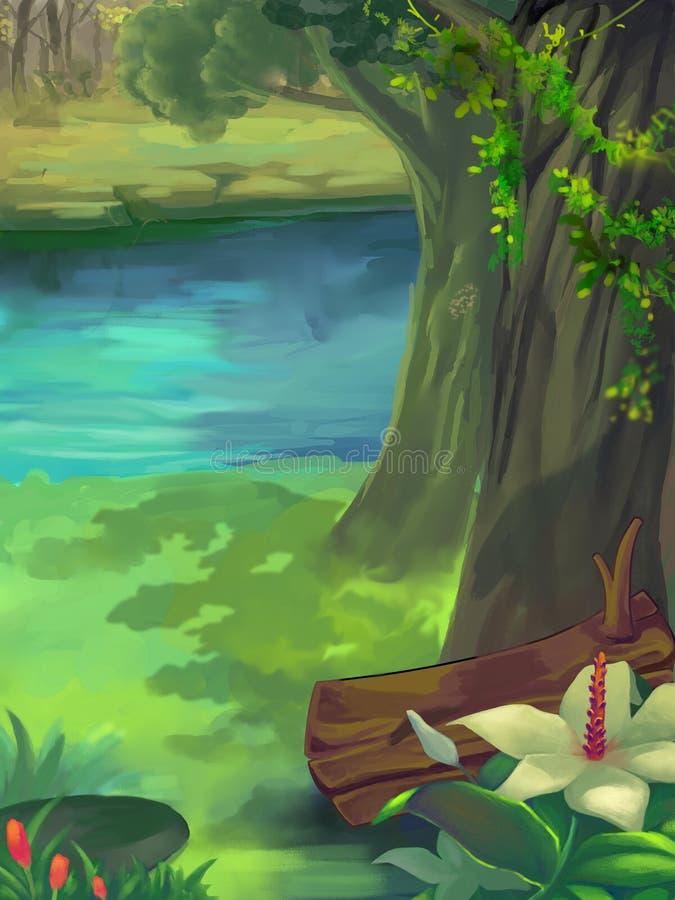 Illustration: Vårskog, grönt gräs, trädskugga, härliga blommor på flodstranden stock illustrationer