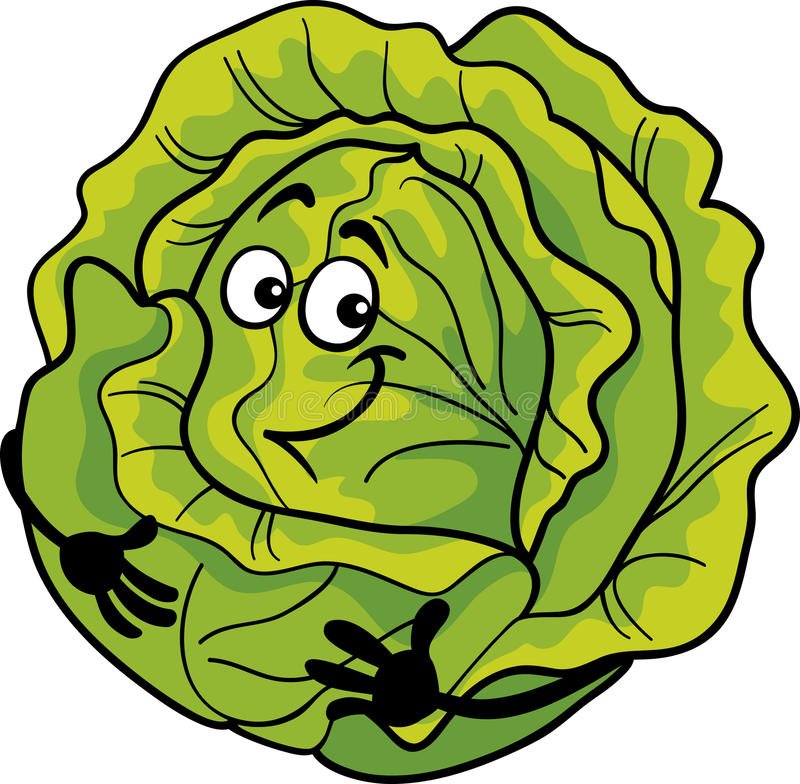 Illustration végétale de bande dessinée de chou mignon illustration stock