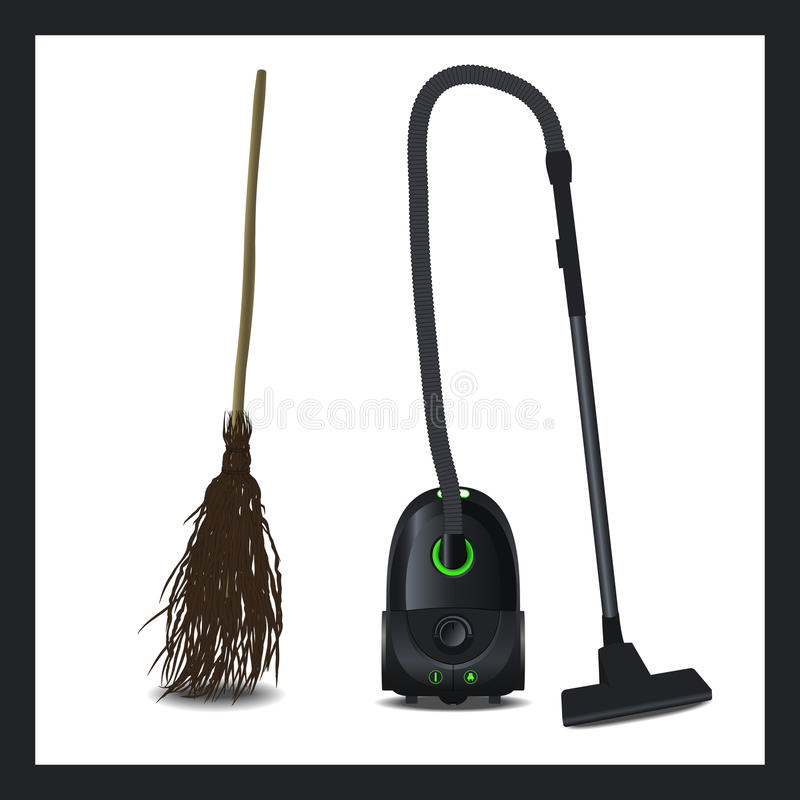 Download Illustration Of A Vacuum Cleaner And Broom The Evolution Technical Devices Stock Vector