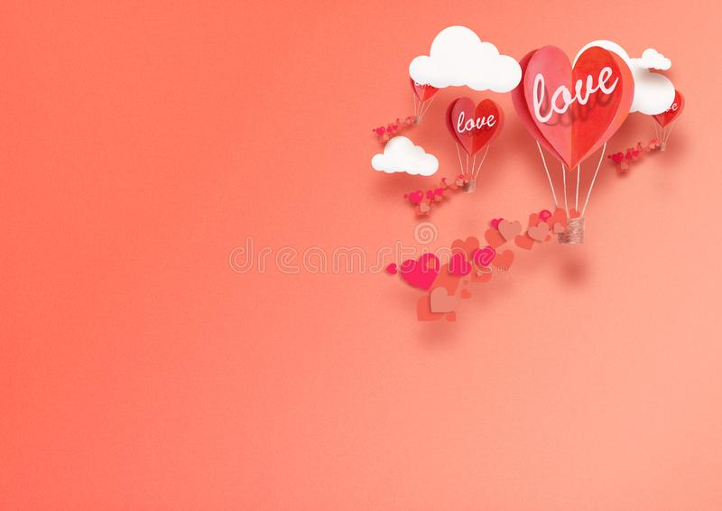 Illustration for Valentine`s Day. Living heart shaped balloons Living Coral fly among the clouds and praise love. concept of love. Peace and happiness stock photos