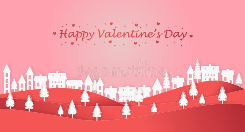 Illustration of valentine`s day in the village concept and pink background. Paper art and digital craft style. stock photography