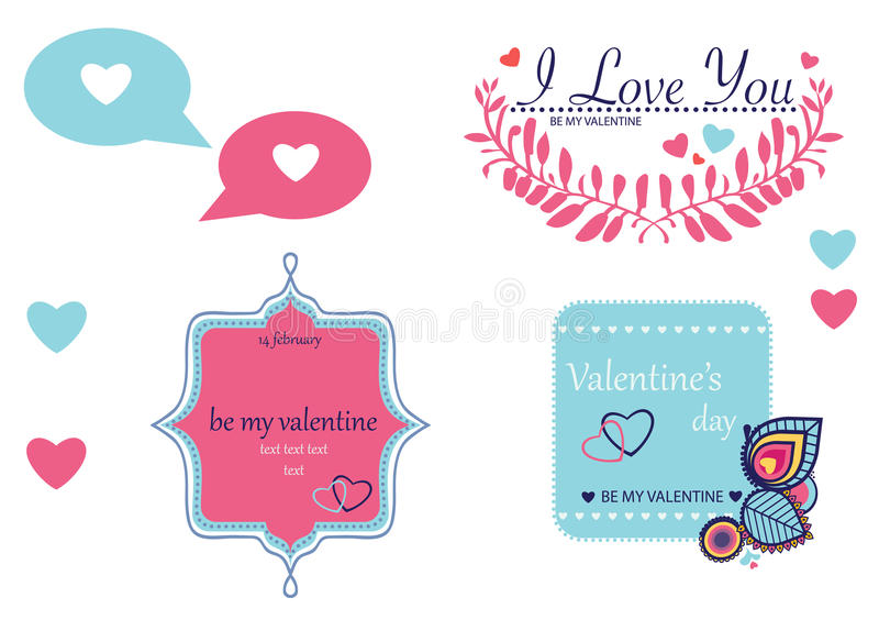 Illustration am Valentinstag, Liebesthema stock abbildung