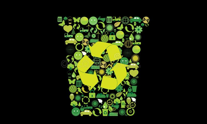 Illustration with various environmental symbols on dark background.  stock illustration