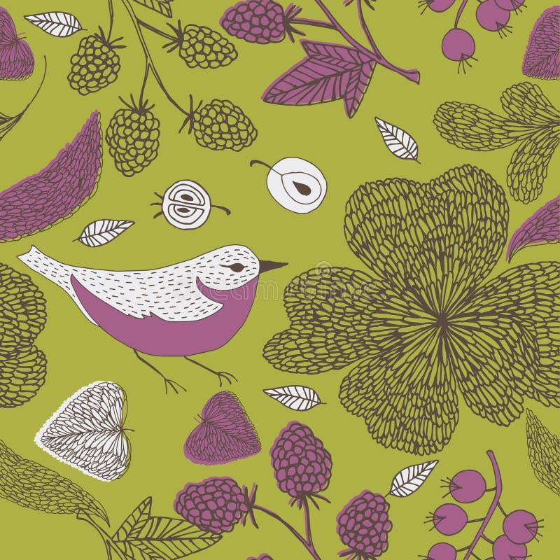 Illustration of various fruits, birds, leaves stock illustration