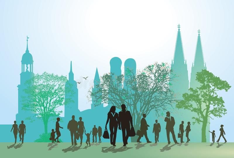 Old town pedestrians in silhouette. Illustration of various pedestrians walking in an open area in front of a line of trees, the skyline of an old town and a royalty free illustration