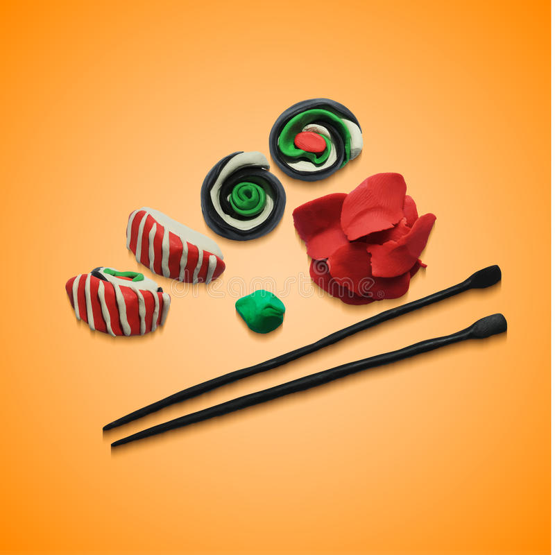 Illustration of various pieces Sushi with. Illustration of various pieces of Sushi with chopsticks. Vector illustration. Plasticine modeling royalty free illustration