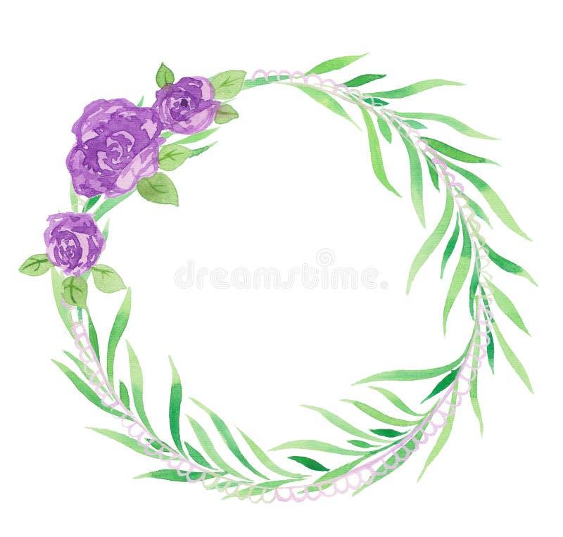 Illustration vattenfärgen, krans av gröna sidor, purpurfärgade rosor royaltyfri illustrationer