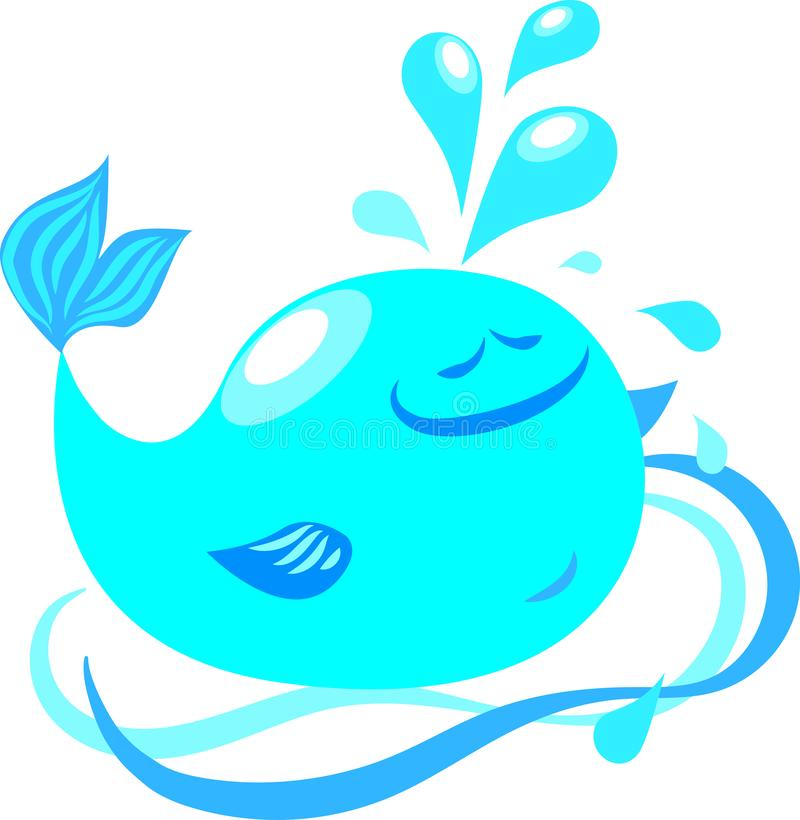Illustration of vector blue whale, waves, water splashes, drops, fountain, happiness stock illustration
