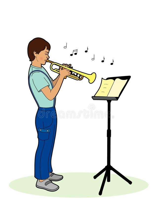 Boy playing a trumpet stock illustration