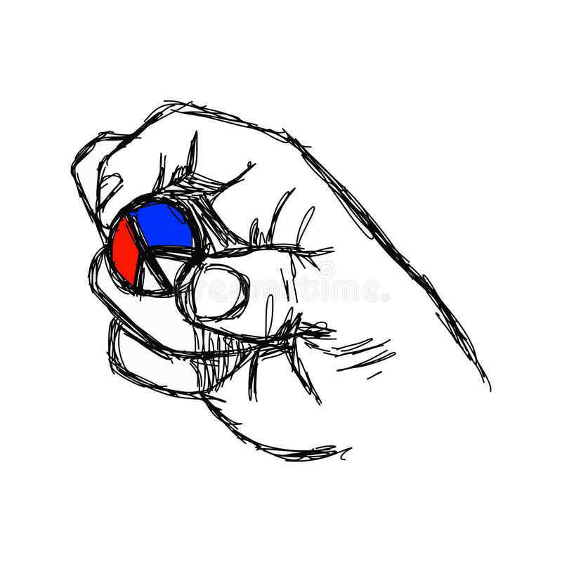 illustration vector doodle hand drawn of sketch right hand holding peace sign coin with color of French flag, red white and blue. stock illustration