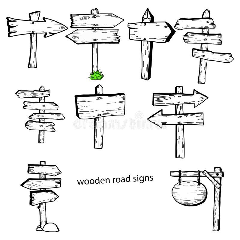 Illustration vector doodles hand drawn wooden road signs collect vector illustration