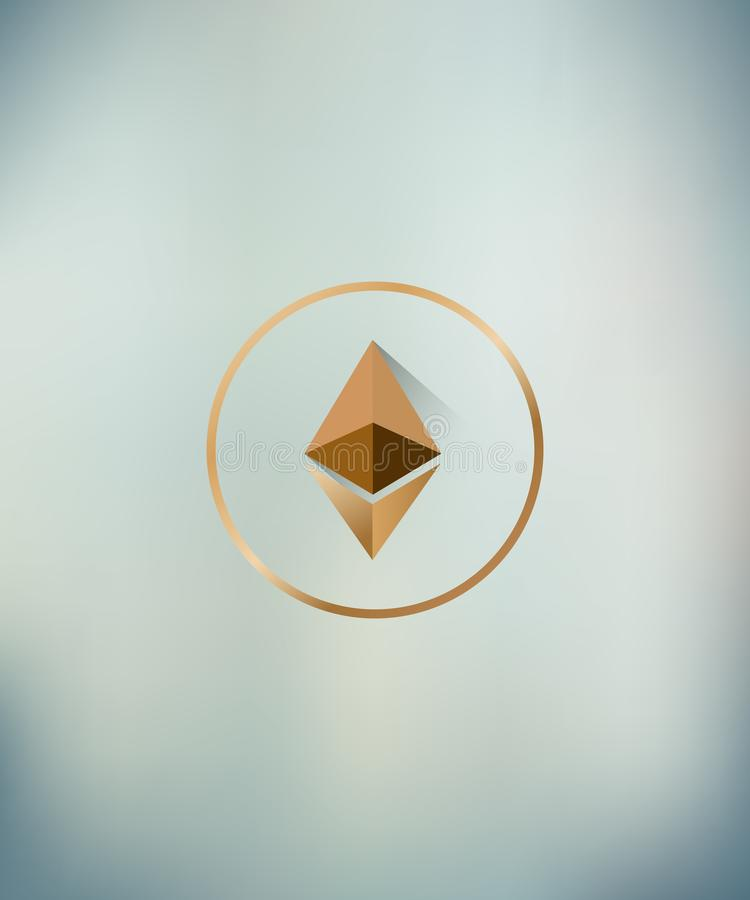 Illustration vector of ethereum logo with long shadow on blurred backgroung royalty free illustration