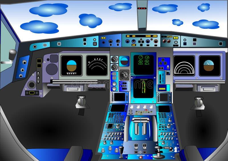 Illustration vector of flight deck or cockpit stock image