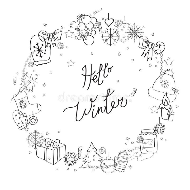 Illustration, vector frame, black-and-white line. Set of winter elements and festive Christmas characters. Caption Hello winter royalty free illustration