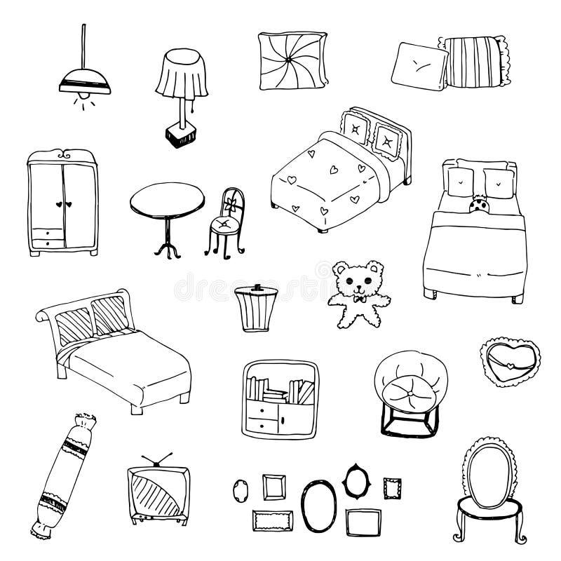 Illustration vector of freehand drawing sketch outline bedroom vector illustration