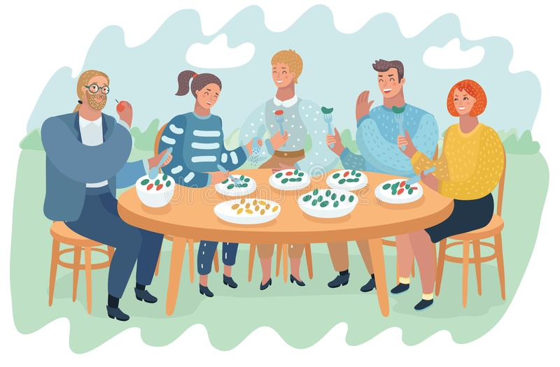 Friends having fun and eating food and drinking. royalty free illustration