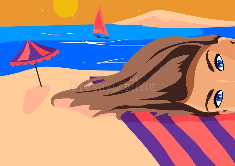 Girl makes a selfie against the sea. Illustration vector. Girl makes a selfie against the sea, is seen an umbrella, and yacht which sails past her pretty eyes stock illustration