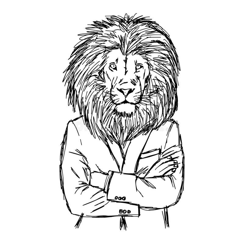 It is a graphic of Luscious Lion In Suit Drawing