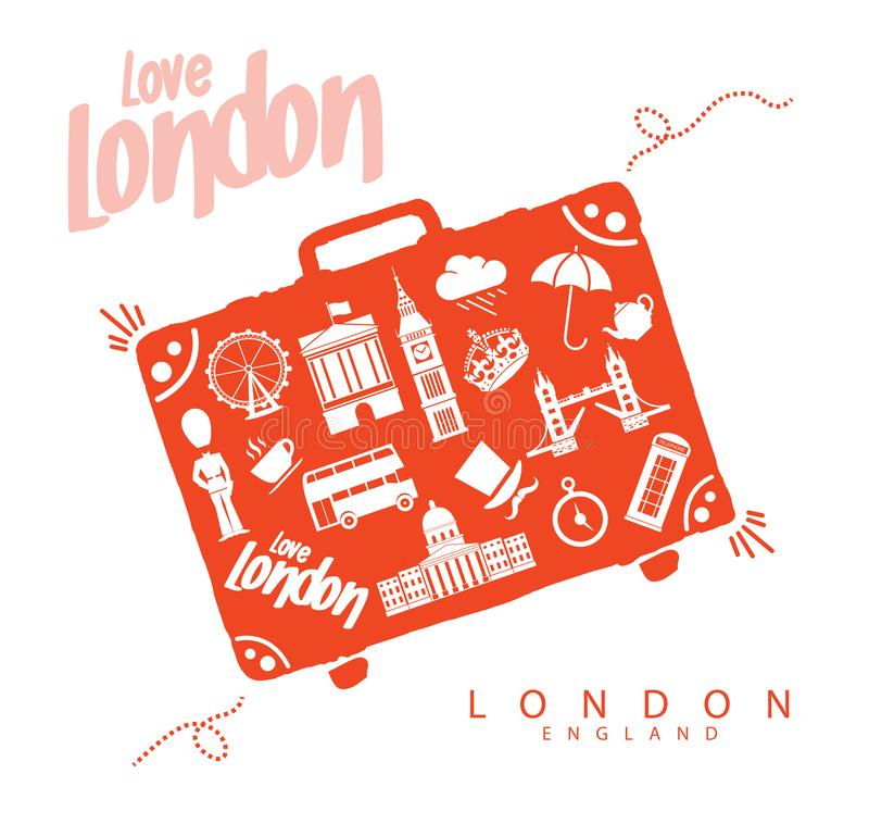 Travel to London England. Landmarks Monuments. Illustration and Vector from Monuments Elements and Landmarks from London. Suitacase stock illustration