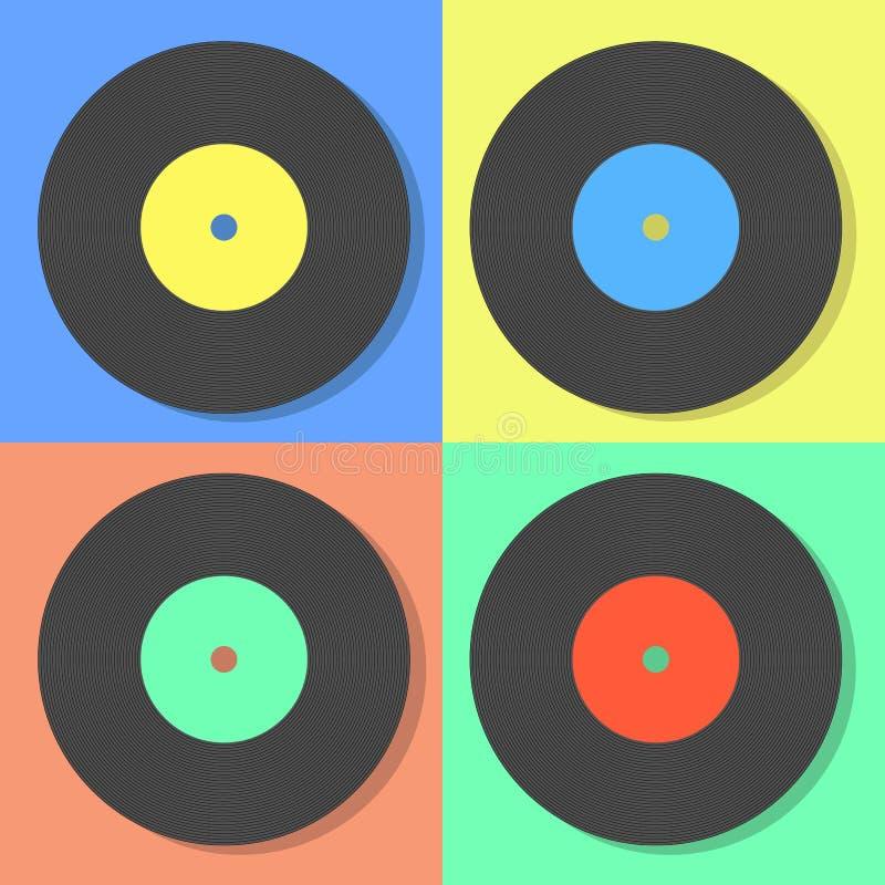 Illustration of vector multi colored vinyl disks. On a multi color background vector illustration