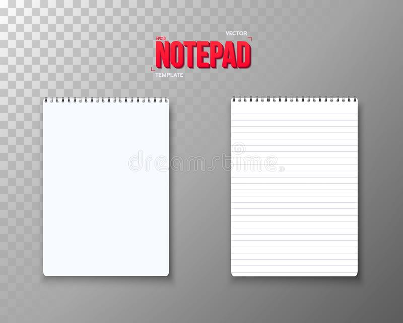 Vector Notepad Set. Realistic Vector Empty Notepad Template. Open Spiral Notebook Mockup vector illustration