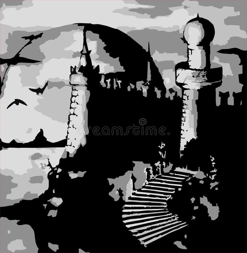 Illustration - Vector Old Dark Castle Stock Photos